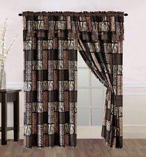 8 pc Brown Tan Zebra Leopard Curtains Panels Drapes Valance Sheer Set 84 inch L