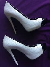 Peeptoe Womens White/Black High Heel Pumps Size-38EU/8AU Preowned-WORN ONCE