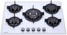 MILLAR GH7051PW 5 Burner White Built-in Gas on Glass Hob 70cm