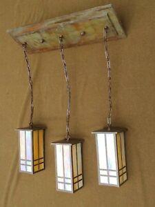 Arts & Crafts Mission Style Slag Glass Chandelier Fixture Brass Light Gallery