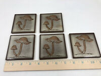 """Kaneki Japan Ceramic Art Tile WILD MUSHROOMS Brown Set of 5 Vintage 3 3/8"""""""