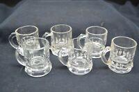 Set of 6 Vtg FEDERAL 1 oz Clear Glass Handled Shot Glasses-Scalloped Bottom