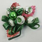 """Boutonniere Christmas Vintage Brooch Breastpin 5"""" Green Indent Bow Ribbon Leaf"""