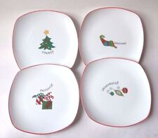 Fitz and Floyd Gourmet Happy Holidays Christmas Square Plates set of 4
