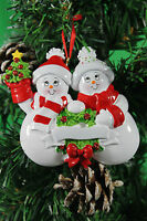 Personalised Family of 2,3,4,5,6,7,8 Christmas Tree Ornament - Snow Decoration