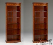 40335/40336: Pair Stunning Tall English Style Inlaid Burl Walnut Bookcases ~ New