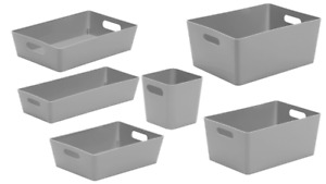 6 x Personalised Grey Home Storage Boxes Box Cleaning Caddy Mrs Hinch Zoflora