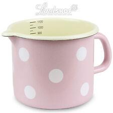 Nostalgie Casserole à lait émail rose avec blanc À Pois Marmite Verre doseur