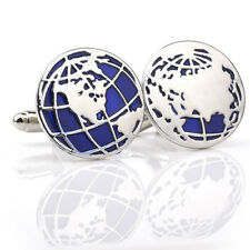 1Pair Silver Blue Mens Stainless Steel World Map Shirts Cufflinks Shirts Cuff 3C