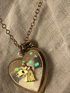 Girls Heart Locket Necklacewith Sparkle Resin And Unicorn Charm