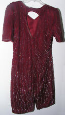 Women's Dress Sz L Full Sequined Mid Length Silk Mother of Bride Formal Deep Red