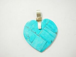 Handmade 10 stone Sleeping Beauty Turquoise inlaid heart Pendant Sterling Silver