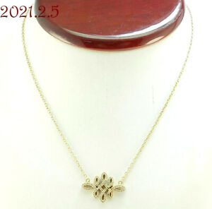 "Beautiful Gold over Sterling Silver 925 White Cubic Zirconia Necklace 15"" + Exte"