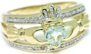 Claddagh Aquamarine & 20 Diamonds 9K 9ct 375 Solid Gold Celtic Irish Ring Real