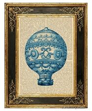 Blue Hot Air Balloon #3 Art Print on Antique Book Page Vintage Illustration
