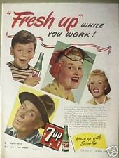 "1944 WWII 7UP Seven-Up Soda-Pop""Fresh Up"" While You Work Art Print AD"