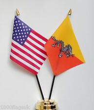 United States of America & Bhutan Double Friendship Table Flags