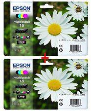 2X Epson 18 (=18XL) Original Claria Multipack 8 Black & colours Inks XP 215 315
