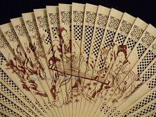Hand Folding Pocket Purse Chinese Sandalwood Traditional Elegant Fan Geisha Lady