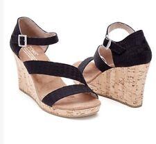 248147d1f39 NEW Women s Toms Black Clarissa Wedge Sandals Heels Size 9.5