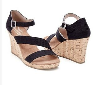 NEW Women's Toms Black Clarissa Wedge Sandals Heels Size W 6