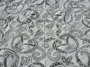 Antique Vtg Hand done Mixed LACE & Linen Tablecloth Embroidered floral 92x116