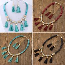 Leather Tassel Pendant Necklace Earrings Kit Elegant Women Fashion Jewelry Set