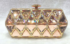 Gorgeous~Champagne & Gold~Triangle Logo Bridal/Evening Crystal Beaded Clutch Bag