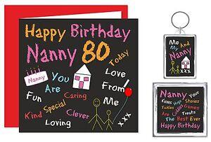 Nanny Happy Birthday Gift Set - Card,Keyring & Magnet 50 - 80 Years  Black Board
