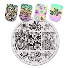 BeautyBigBang Round Nail Stamping Plates Flower Nail Template Stamp DIY Nail