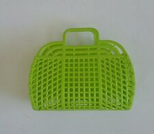 "NEW Vintage Retro LIME GREEN 9"" (1980's) JELLY Plastic Purse Handbag (US Made)"
