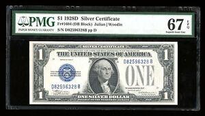 DBR 1928-D $1 Silver Funnyback Superb Gem Fr. 1604 PMG 67 EPQ Serial D82596328B
