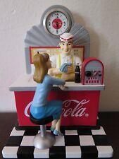 "Coca-Cola CXST04 Mini Clock Resin 1950's Diner Soda Jerk & Counter Figurine 4"""