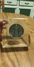 Saint Francis Medallion Medal Encapsulated In Lucite Desk Display