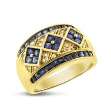 Ring In Solid 14k Yellow Gold 2.14 Ct. Natural Diamond & Sapphire Fashion