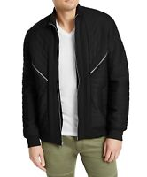 INC Mens Jacket Galactic Black Size XL Full Zip Quilted Ribbed Trim $99 #203