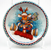 "Giftco: 8"" Christmas Collectible Plate - Deer Friends, w/ Display Stand"