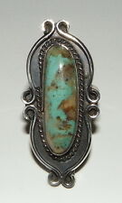 """GORGEOUS Vintage Navajo Indian Sterling Turquoise Ring, 1 5/8ths"""" long, Size 8"""