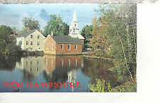 Church and House Reflected in a Pond  Harrisville  NH  Postcard 367