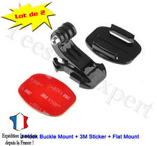 2 SUPPORT 3M Accessoires Adaptateur GOPRO HERO 1 2 3 3+ 4 casque fixation j-hook