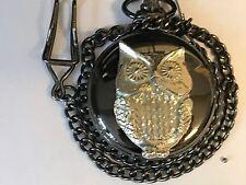 Owl TG124 Pewter on a Black Pocket Watch Quartz fob