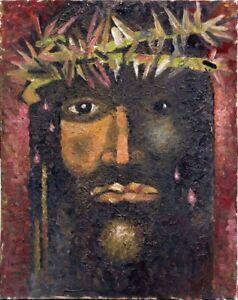 "Expressionist Anatoliy Chudinovskikh ""Jesus"" Öl Pappe 50x40 cm"