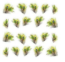 Peacock Green Feathers 3D Nail Art Sticker Decal Decoration Manicure