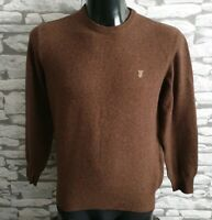 THOMAS BURBERRY Lambswool Jumper Brown Sweater Crew Neck size S 36""