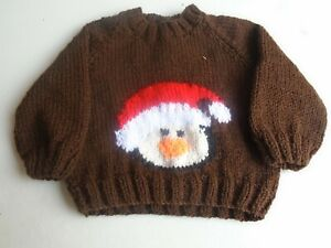 """New Hand Knitted Christmas Sweater 18/20"""" chest (aprox 6/12 months)"""