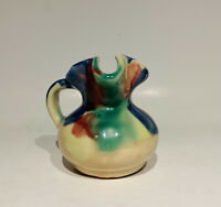 Vintage Unknown Maker Early Hull Pottery Style Multi-Color Glaze Pitcher Vase