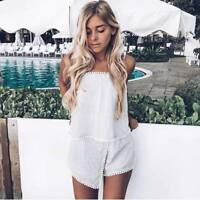 BNWT Silver Steel Grey & White Lace Wrap Skort Crush Playsuit Romper size 8 10