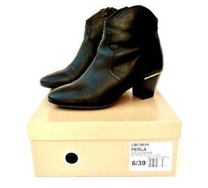 Dune Perla Ladies Black Leather Ankle Boots UK 6 Boxed EU 39 VGC