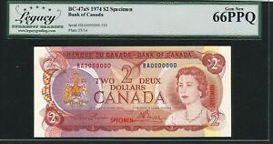 Bank of Canada 1974 $2 Specimen Note. Certified Legacy Gem Unc 66PPQ