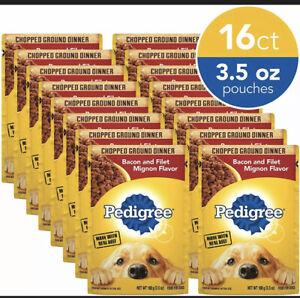 Pedigree Adult Wet Dog Food, Bacon & Filet Mignon Flavor 3.5 oz. Pouches 16